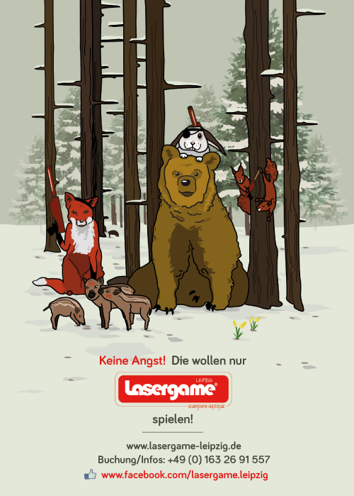 lasergame Illustration Tiere Wald