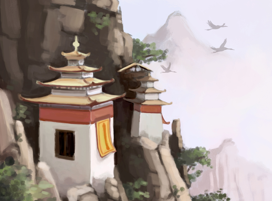 chinese landscape illustration detail
