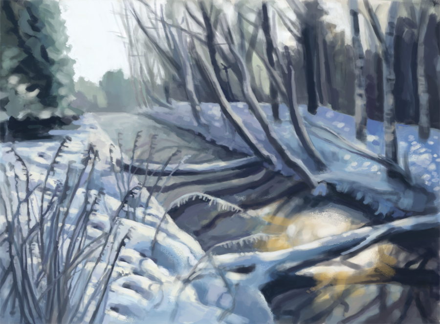 winter river illustration